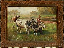 Rudolf Weber: Landscape with young woman and cows