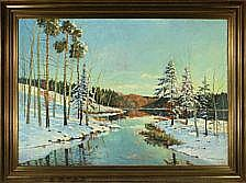 Carl Wennemoes: Wintry landscape with trees