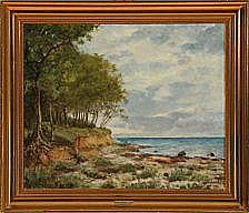 Anker Lund: Coastal scene at summer time. Signed