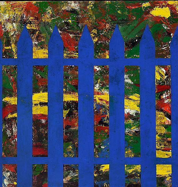 Per Kirkeby: Blåt stakit (Blue Fence), 1965-1966. Signed on the reverse Per Kirkeby. Synthetic paint on masonite. 122 x 122 cm.