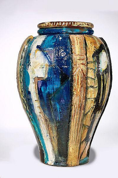 Peter Brandes: Colossal earthenware floor vase, decorated with polychrome glazes. H. 188 cm.