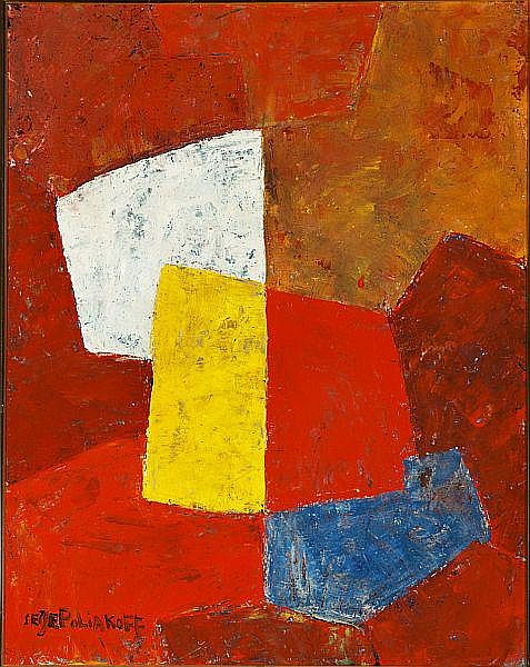 Serge Poliakoff: Composition. Signed Serge Poliakoff. Oil on canvas. 92 x 73 cm.