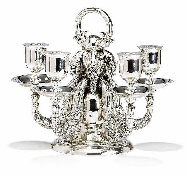 Georg Jensen: Big sterling silver candelabra. H. 28 cm.