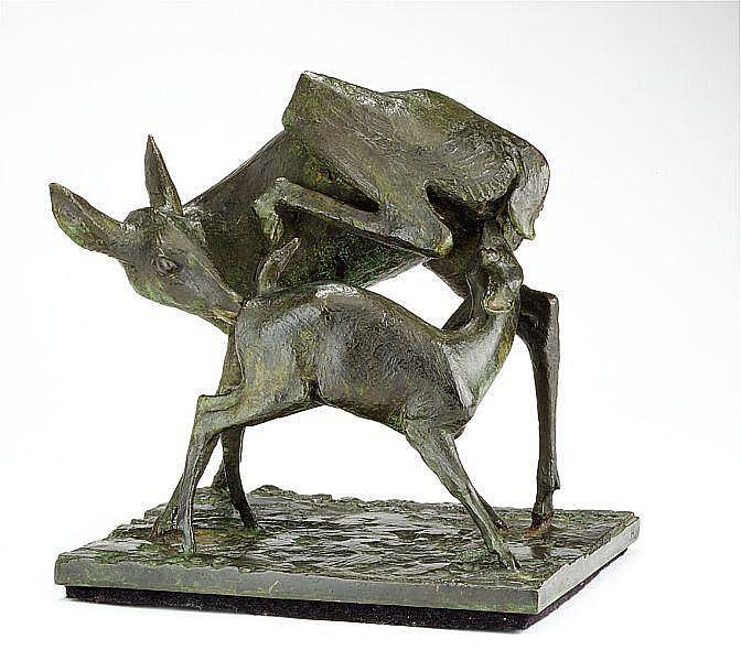 Hugo Liisberg: Deer. Signed monogram HL, stamped L.R. 30 Cire perdue. Green patinated bronze. H. 29 cm. B. 28 cm. D. 24 cm.