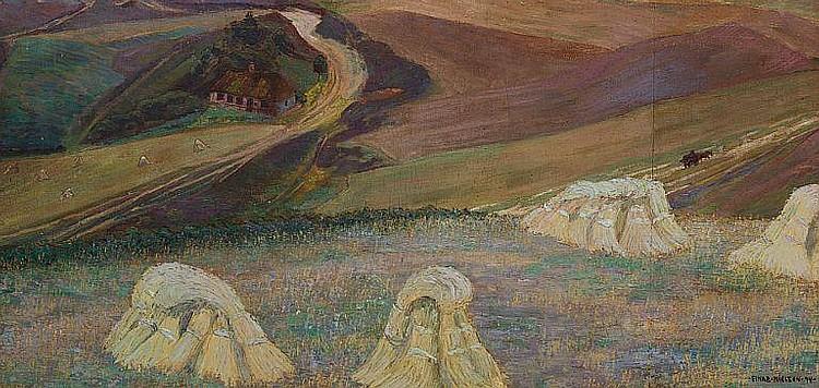 Ejnar Nielsen: Symbolistic scenery, Gjern. Signed Einar Nielsen 94. Oil on canvas. 58 x 118 cm.