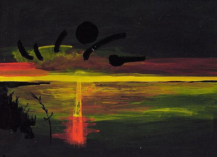 John Kørner: Landscape, sunset, 2000. Signed and dated on the reverse. Oil on black paper. Sheet size 50 x 70 cm.
