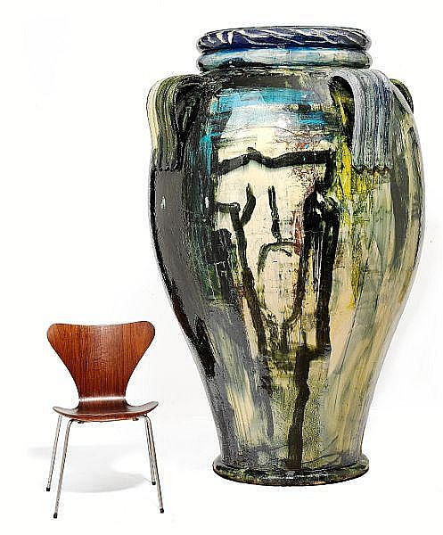 Peter Brandes: Colossal vase. Decorated in relief with polychrome glaze. H. 195 cm.