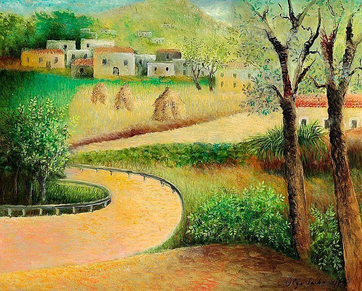 Olga Nicolaevna Sacharoff: Landscape with haystacks. Signed Olga Sacharoff. Oil on canvas. 65 x 82 cm.