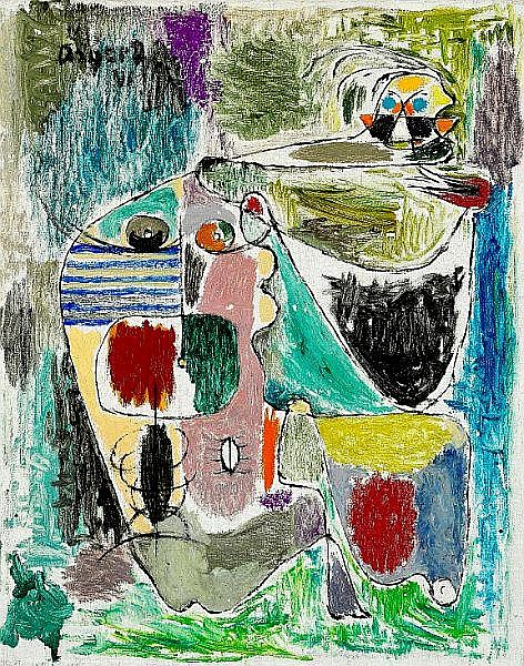 Asger Jorn: Composition. Signed Asger J. 41. Oil on canvas. 50 x 40 cm.