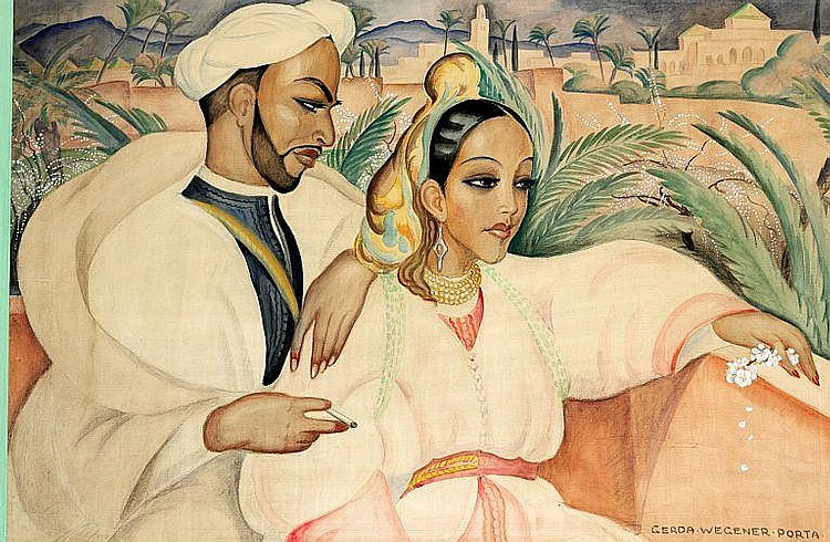 Gerda Wegener: Oriental couple, in the beginning of the 1930s. Signed Gerda Wegener Porta. Watercolour on paper. Visible size 78 x 117 cm.