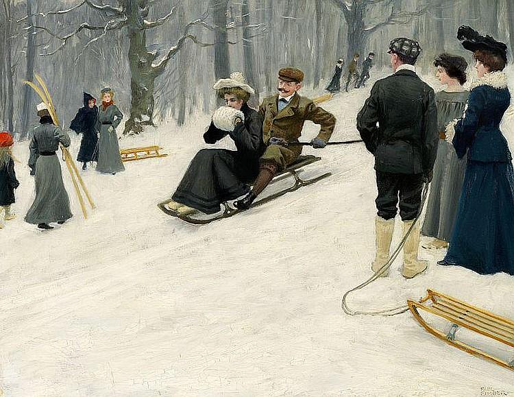 Paul Fischer: Snow sled ride in Søndermarken, Copenhagen.