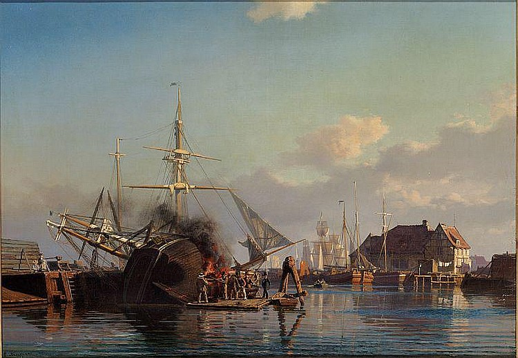 Carl Neumann: From The Port of Copenhagen. A sailing boat is being caulked.