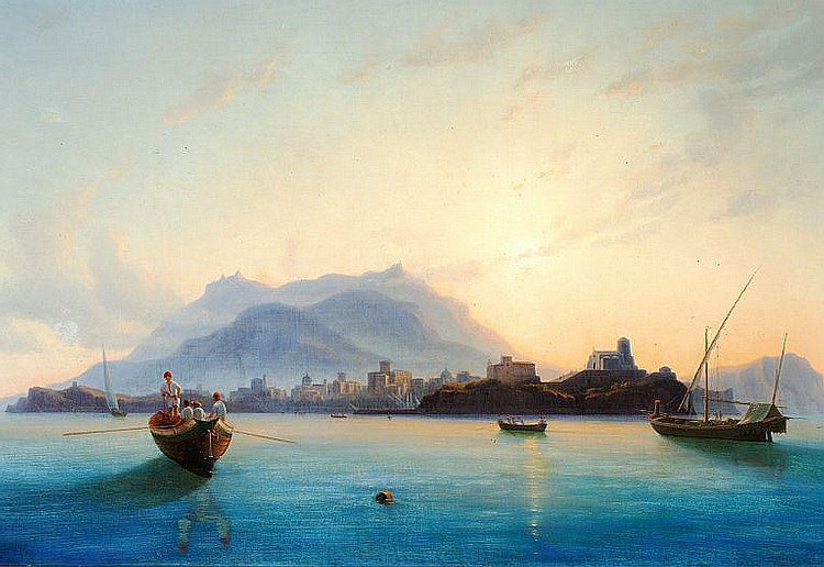 Edmund Hottenroth: View of Italy with fishermen in their boats off the coast.