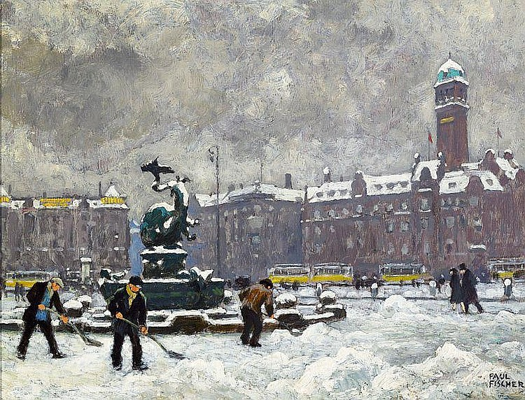 Paul Fischer: The Town Hall Square in Copenhagen with the Dragon fountain. Snowy weather.