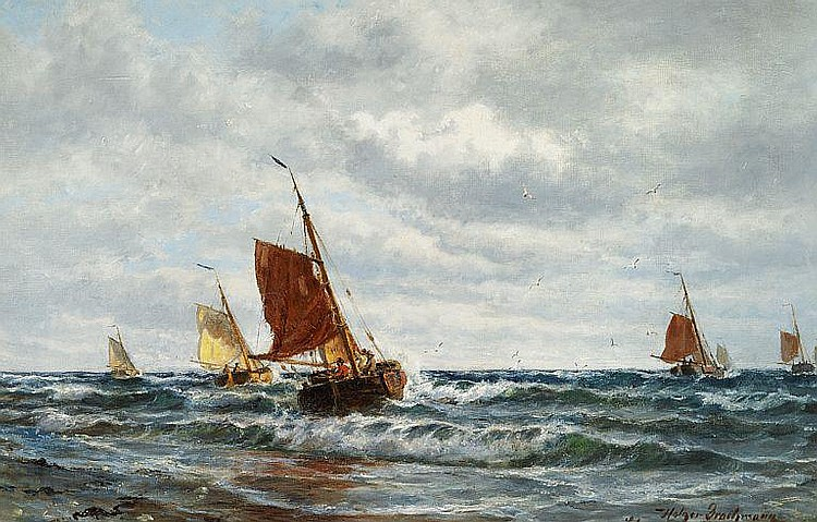 Holger Drachmann: Fishing boats off the Dutch coast.