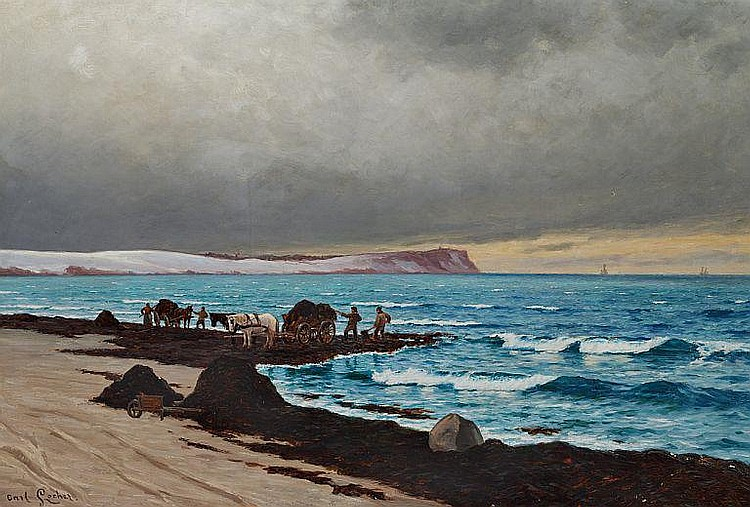 Carl Locher: Seaweed collectors on the beach.