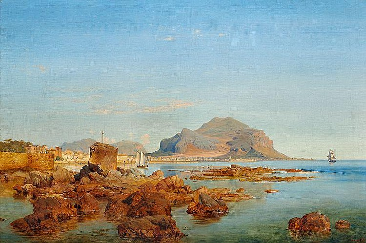 Louis Gurlitt: View of the Bay of Palermo.