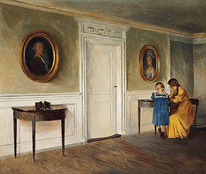 Peter Ilsted: Interior from Liselund with the artist's daughters reading.