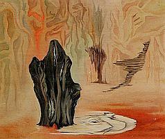 Vilhelm Bjerke-Petersen: Cave interior. Unsigned. Oil on compoboard. 45 x 54 cm.