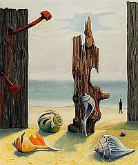 Vilhelm Bjerke-Petersen: Surrealistic beach scene with sea shells and figure, 1947. Signed v.b. petersen. Oil on canvas. 65 x 54 cm.