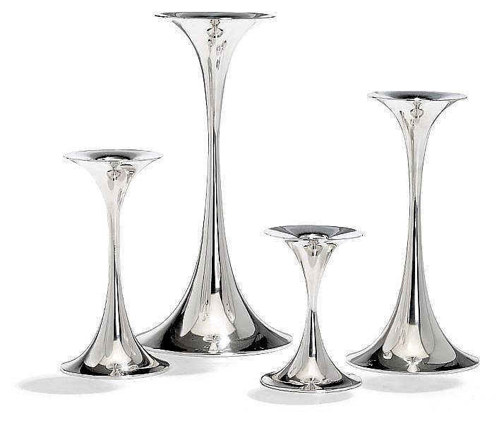 Tapio Wirkkala: Four silver candlesticks. Stamped monogram resp. A8, Z7, A8 and V7. Total weight 827 gr. H. 9,7. - 23 cm. (4)