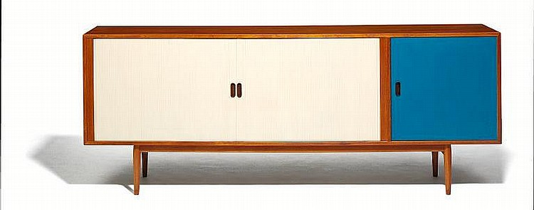 Arne Vodder: Teak sideboard. Front with door with later blue paint and two tambour doors with later white paint.