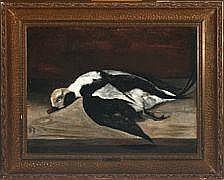 Jørgen Roed Long-tailed duck. Signed JR 1885. Oil