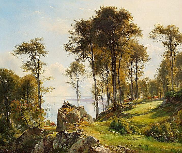 C. F. Aagaard: Two shepherd boys relaxing while the cows are grazing on the steep slopes near the sea.