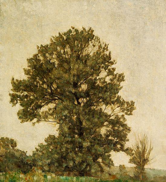 Svend Hammershøi: Landscape with trees.