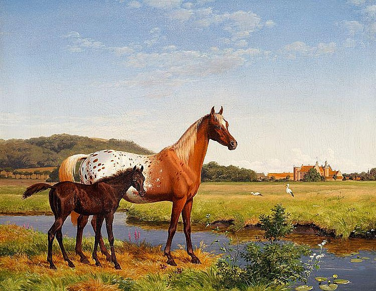 Carl Bøgh: Horses and storks in the meadow near the manor house Gl. Estrup.