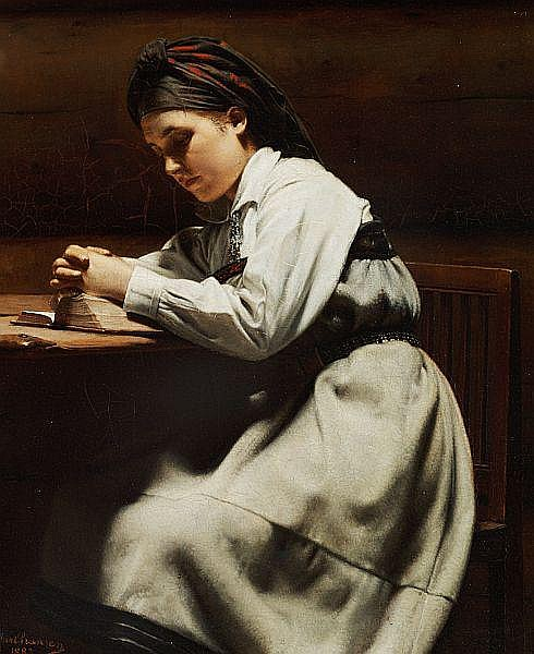 Carl Sundt-Hansen: Young girl praying, Setesdal, Norway.