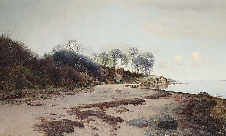 Janus la Cour: Quiet afternoon at Moesgaard Beach, Aarhus.