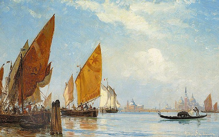 Holger Drachmann: Fishing vessels and gondola in the Grand Canal, Venice.