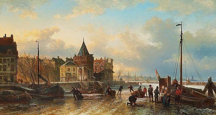 Elias Pieter van Bommel: People in a Dutch harbour.