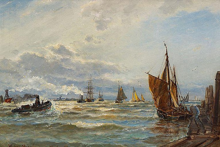 Holger Drachmann: Numerous ships on the Alster river near Hamburg.