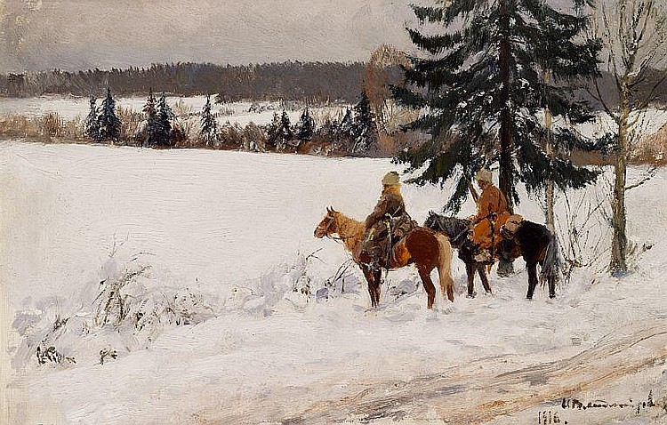 Ivan Alexeievich Vladimirov: Winter landscape with two cossacks on reconnaissance.