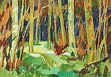 Mogens S. Andersen: Forest scenery. Signed Mogens