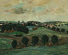Helge Daner Jensen: Hilly landscape. Signed Helge