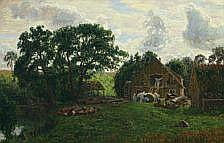 Niels Skovgaard: Working at the water mill. Signed