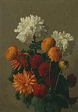 Peter Schou: Still life with flowers. Signed P.