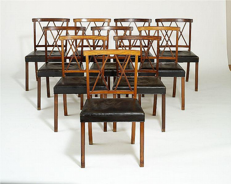 Ole Wanscher: Rosewood dining room suite with numerous profiled edges. (14)