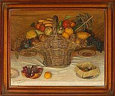 Ejnar Nielsen: A basket with fruit. Signed and
