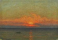 Albert Wang: Sunset. Signed A. W. 1.9.1922. Oil on
