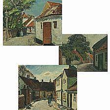 Niels Holbak: City sceneries. Signed N. Holbak.