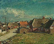 Niels Holbak: Landscape with houses. Signed N.