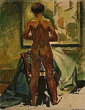 Knud Ove Hilkier: Woman seen from the back. Signed