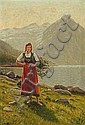 Emma Pastor Normann: Norwegian landscape with a, Emma Normann, Click for value