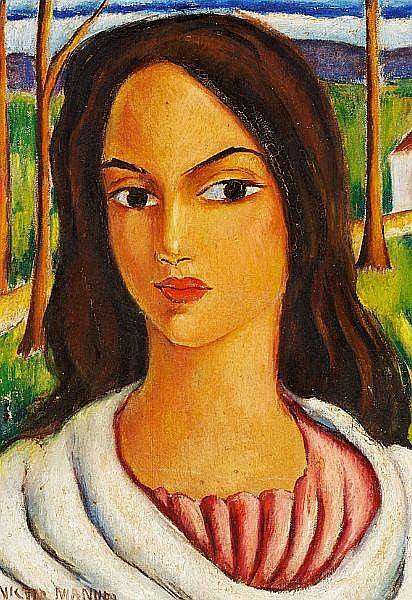 Victor Manuel: Portrait of a woman. Signed Victor Manuel. Oil on canvas laid down on board. Visible size 44 x 31 cm.