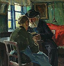 Niels Holbak: Peasantry interior with reading man