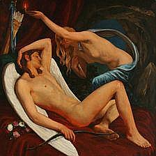 Gudmund Hentze: Cupid and Psyche. Signed and dated